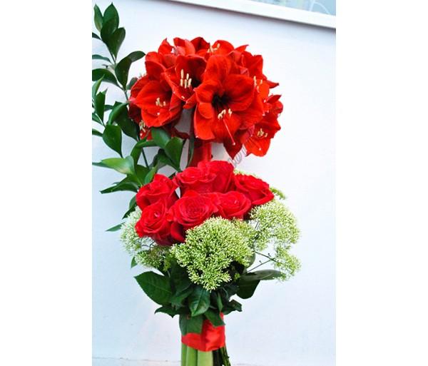 Buchet trandafiri si amarilis BO08