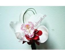 Cocarda cu orhidee alba CC16