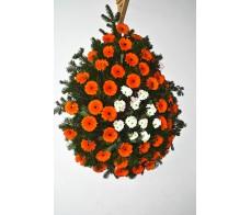 Coroana cu gerbera si crizanteme C19