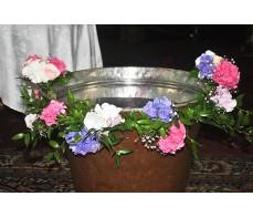 Decor cristelnita cu hortensii in nuante roz-mov CR04